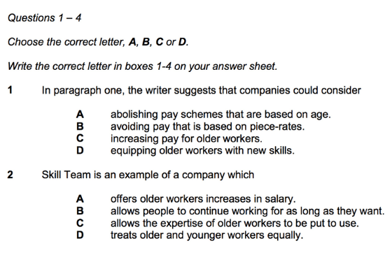 Example of MCQ